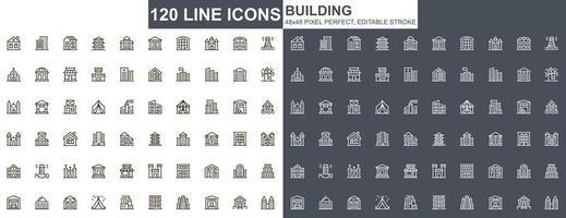 costruzione di set di icone di linea sottile vettore