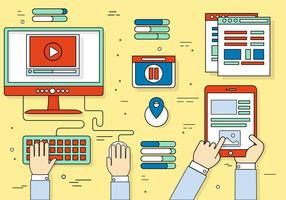 Icone e elementi del desktop vettoriali gratis Design piatto