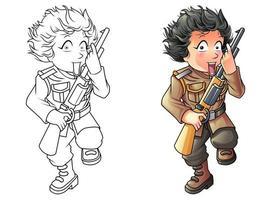 Pagina da colorare di cartoni animati soldato e pistola per bambini