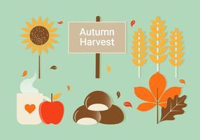 Illustrazione di elementi di autunno di vettore di design piatto gratuito