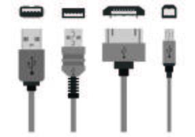 Set di icone di porte USB vettore