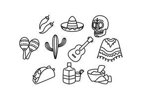 Vettore di icona di linea del Messico gratis
