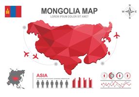 Mappa mongolia infografica vettore