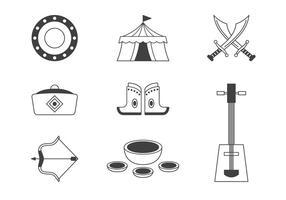 Set di icone di mongolo tartaro giogo vettore