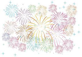 Fuochi d'artificio sul vettore bianco del fondo