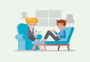 Psicologo che ascolta il suo paziente vettore