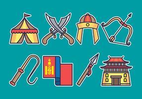 set di icone mongol vettore