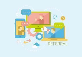 referral e illustrazione di rete vettore