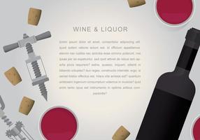 Vino rosso o tappo del liquore con vetro e cavatappi