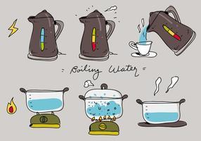 Illustrazione piana di vettore disegnato a mano di processo dell'acqua di ebollizione