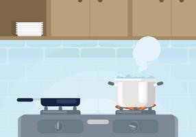 Pentola con illustrazione di acqua bollente vettore
