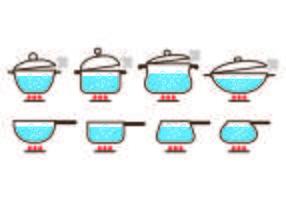 Pentole con i vettori dell'icona dell'acqua bollente