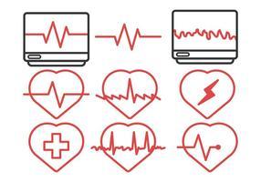 Vettore del pacchetto dell'icona di ritmo cardiaco