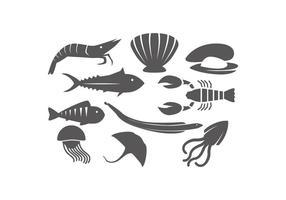 Vettore libero dell'icona della siluetta degli animali dell'oceano