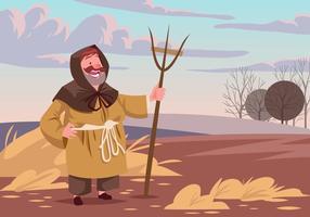 Vettore medievale contadino