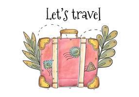 Valigia rosa disegnata a mano per il vettore di giorno di turismo