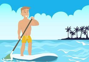 Uomo su paddleboard in spiaggia vettoriale