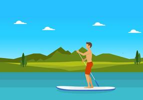 Man on Paddleboard Vector