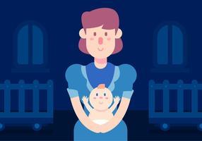 Nanny And Baby Vector
