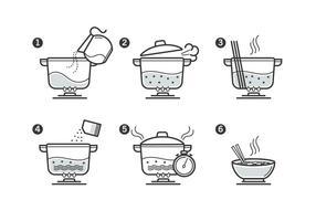 Set di icone di istruzioni di cottura vettore