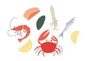 Vettore libero del fumetto dei frutti di mare