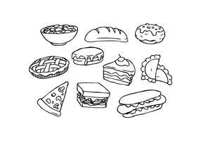 Vettore disegnato a mano dell'icona dell'alimento libero