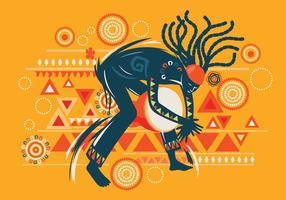 Uomo che gioca il vettore di musica africana di Djembe