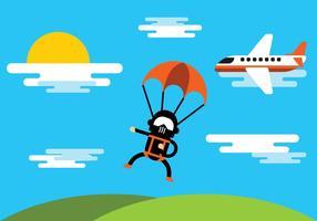 Illustrazione di paracadutismo vettore