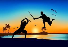 Vettore libero della spiaggia di lotta della spada del Kerala