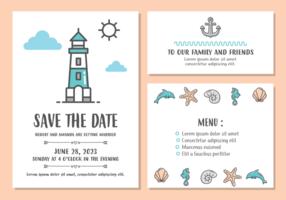 Modello di carta di invito matrimonio spiaggia vettore