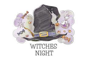 Concetto sveglio di Halloween con il vettore del cappello della strega
