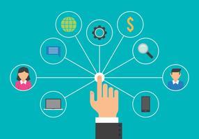 Illustrazione di concetto del sistema di gestione di interazioni dell'utente vettore