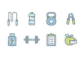 Icone di palestra e fitness vettore