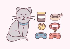 Vector accessori carino gatti