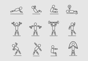 Icone di vettore di esercizio di persone Stickman