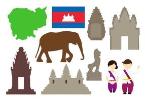 Vettore libero delle icone della Cambogia