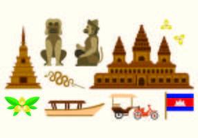 Set di icona della Cambogia vettore