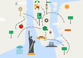Mappa di New York Sights vettoriale