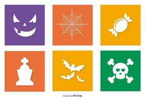Collezione di icone colorate di Halloween vettore