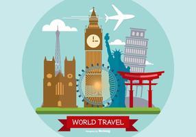Illustrazione di viaggio del mondo vettore