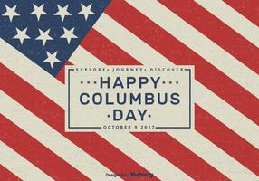 Felice Columbus Day 2017 Vector Retro Greeting Card