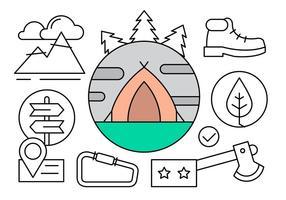 Illustrazione di campeggio lineare