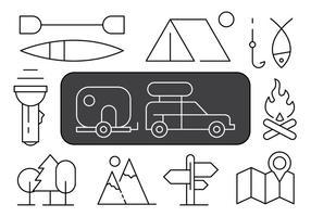Illustrazione di campeggio lineare vettore