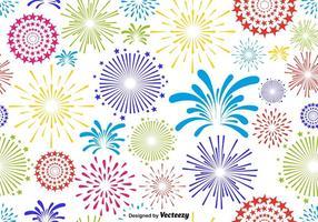 Modello infinito del fuoco d'artificio multicolore di vettore su fondo bianco