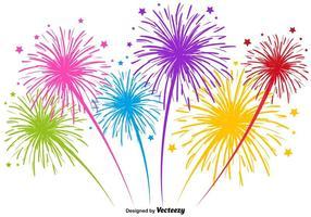 Illustrazione di fuochi d'artificio multicolore di vettore