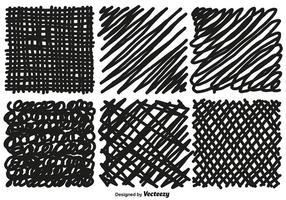 Set di turbinii disegnati a mano e scarabocchi. Set vettoriale