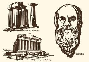 Insieme disegnato a mano di vettore dei monumenti e di Socrates del greco antico