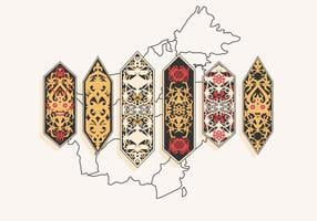 Vettore di motivi tribali Dayak