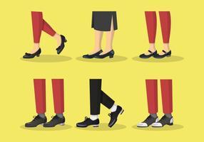 Tocca l'illustrazione degli insiemi di vettore delle scarpe