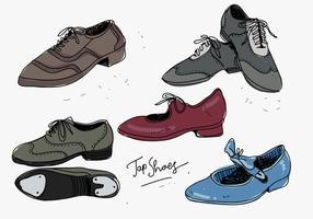 Spilli l'illustrazione disegnata a mano di vettore della raccolta delle scarpe
